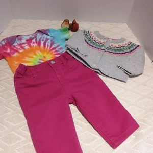 Colourful bundle jeggings,sweater and onesie